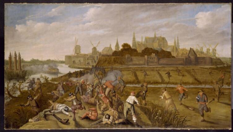Разрушение Лейденской дамбы и затопление польдеров гезами. Неизвестный художник XVII в.