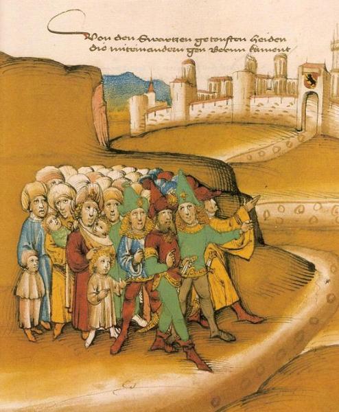 Первое прибытие цыган за пределами Берна в 15 веке, описанное летописцем как getoufte heiden («крещёные язычники»). Нарисованы с тёмной кожей, носят одежду в стиле сарацин и оружие