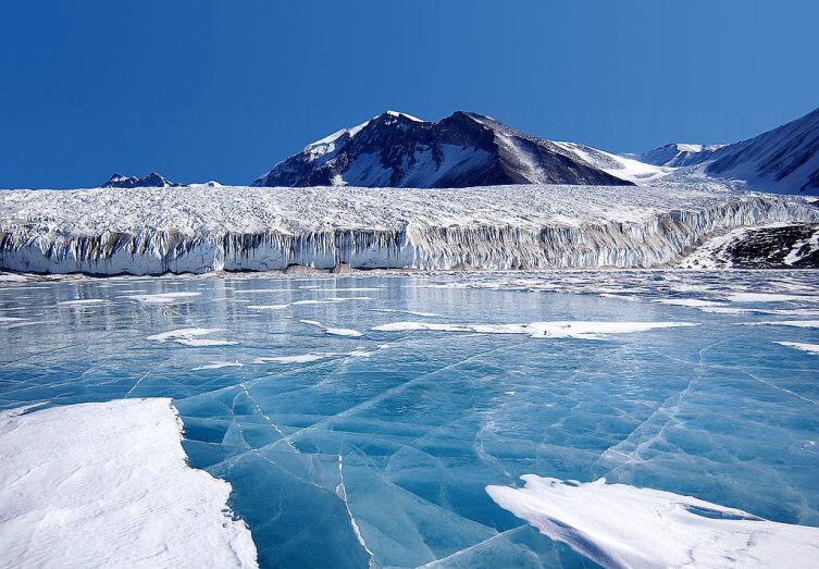 Голубой лёд, покрывающий озеро Фрикселл в Трансантарктических горах