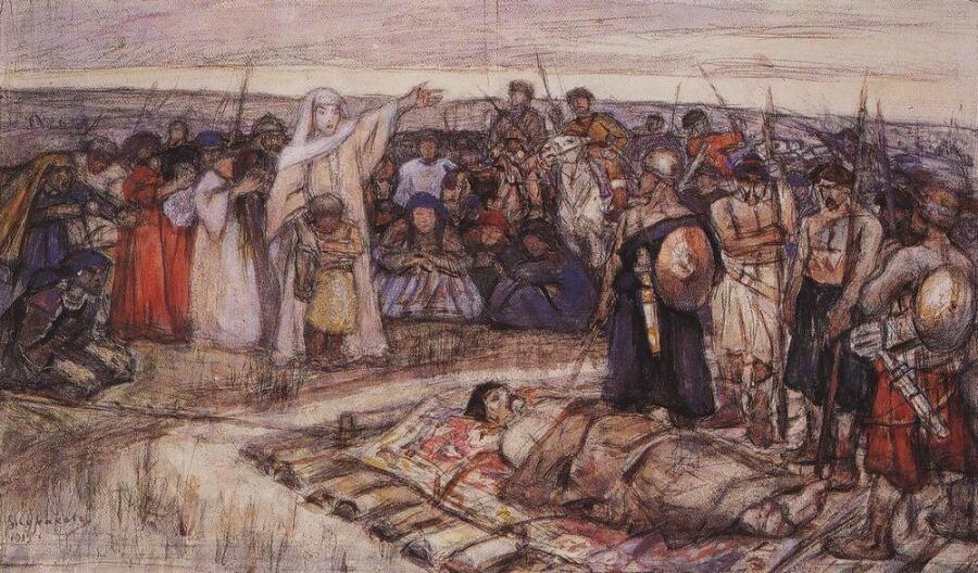 «Княгиня Ольга встречает тело князя Игоря». Эскиз В. И. Сурикова, 1915 г.