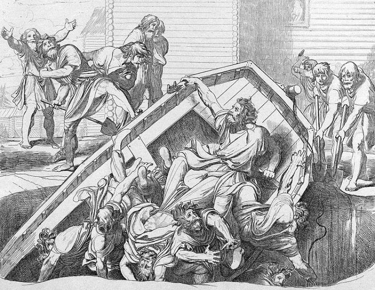 «Мщение Ольги против идолов древлянских». Гравюра Ф. А. Бруни, 1839 г.