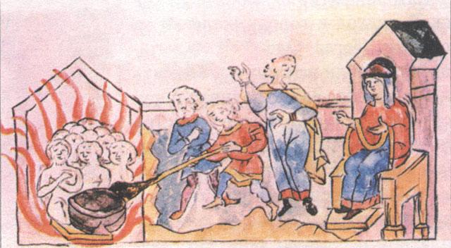 Вторая месть Ольги древлянам. Миниатюра из Радзивилловской летописи, XV век