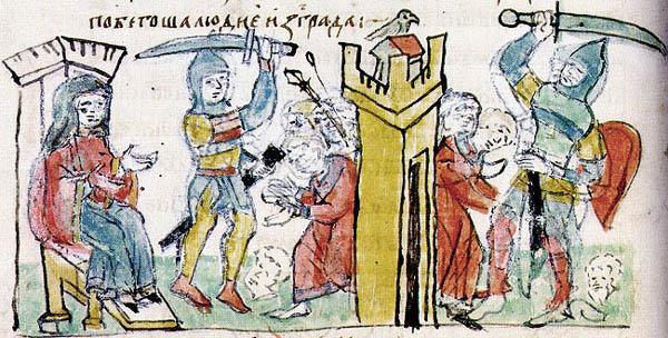 Сожжение древлянского города Искоростеня и расправу с его населением.  Миниатюра из Радзивилловской летописи, XV век