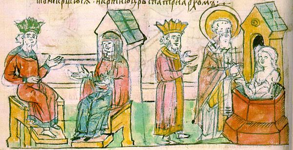 Крещение княгини Ольги в Царьграде. Миниатюра из Радзивилловской летописи, XV век