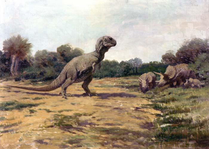 Устаревшая реконструкция Чарльза Найта, показывающая тираннозавра в вертикальной позе