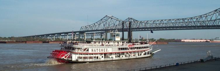 Колёсный пароход в США на Миссисипи