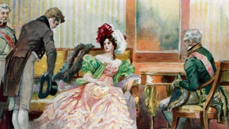 Евгений Онегин и Татьяна Ларина,<br /> иллюстрация Е. П. Самокиш-Судковской (до 1908 г.)