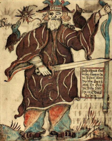Один обращается к во́ронам Хугину и Мунину. Изображение 18-го века в исландской рукописи. Датская королевская библиотека
