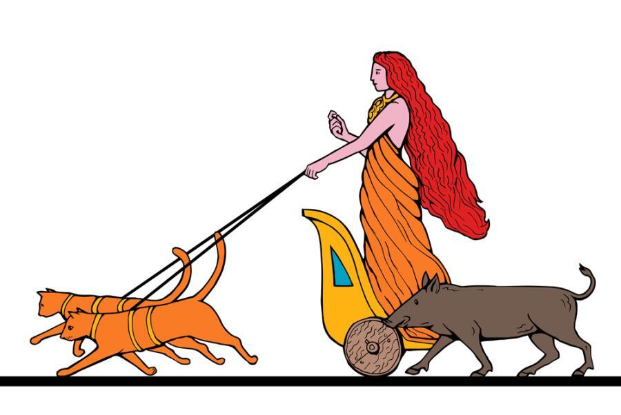 Фрейя едет на колеснице, запряженной двумя кошками
