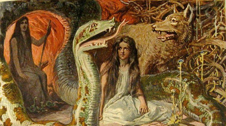 Ангрбода (на заднем плане) и её дети: Ёрмунганд, Фенрир и Хель. Худ. Эмиль Деплер, 1905 г.