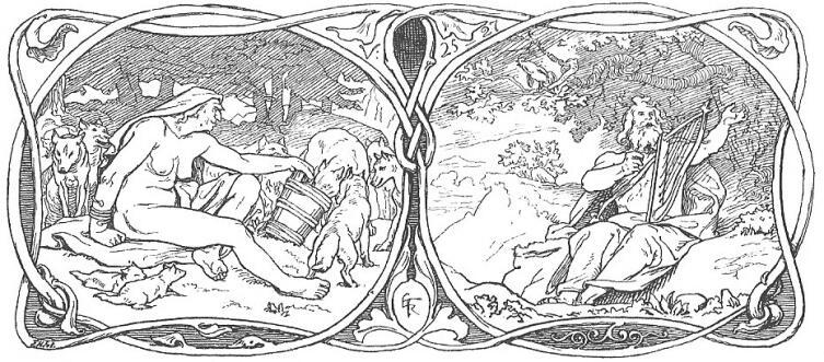 Рисунок Лоренца Фрёлиха, изображающий великаншу, вскармливающую волков, и пастуха Эггдера, играющего на арфе