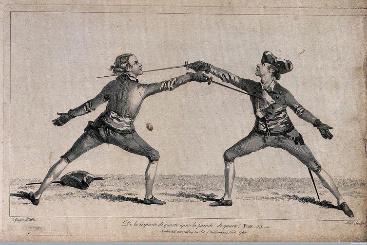 Тренировка фехтовальщиков. Гравюра XVIII века