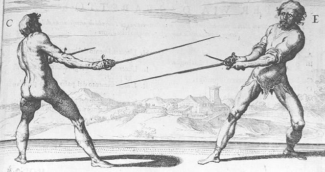 Демонстрация работы с мечом и кинжалом. Николетто Гиганти