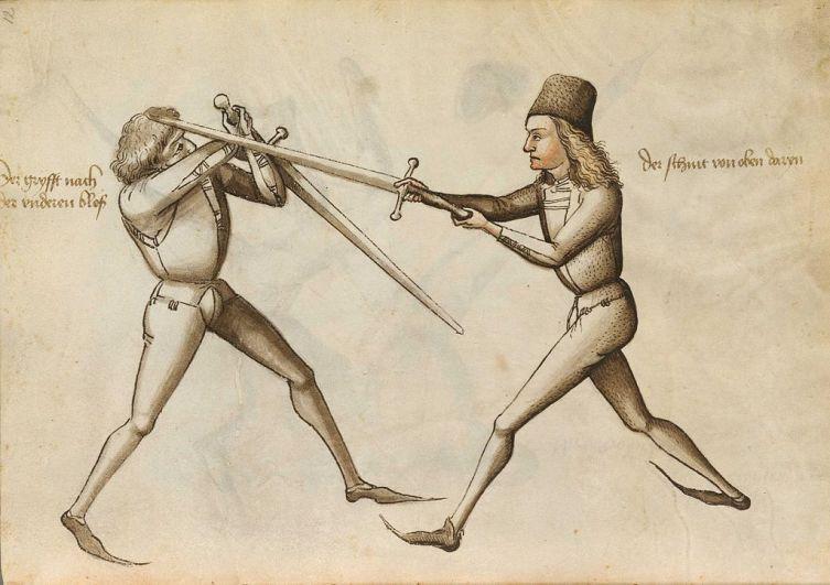 Страница из учебника по фехтованию XV века