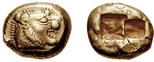 Лидийская монета из электрума, VI век до н. э.