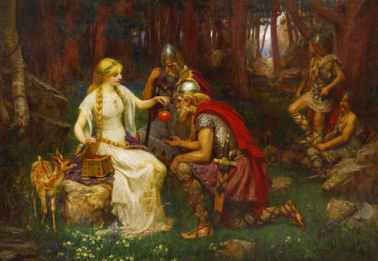 Джеймс Пенроуз, «Идунн (богиня вечной юности) и яблоки», 1890 г.