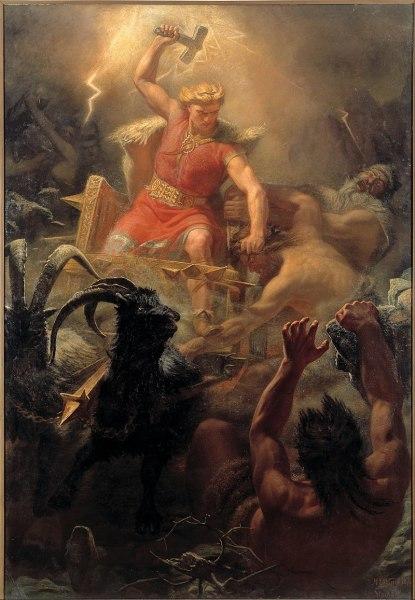 Мортен Эскиль Винге, «Тор сражается с гигантами», 1872 г.