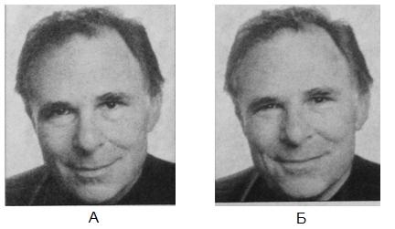 На обоих фото человек улыбается, но лишь на фото Б улыбка искренняя -