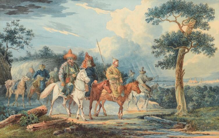 «Башкиры в Европе», Картина Фёдора Куртенера