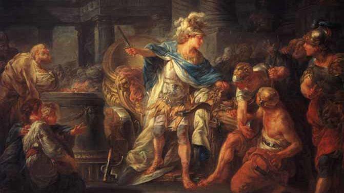 Жан-Симон Бартелеми, «Александр Македонский рассекает гордиев узел», 1767 г.