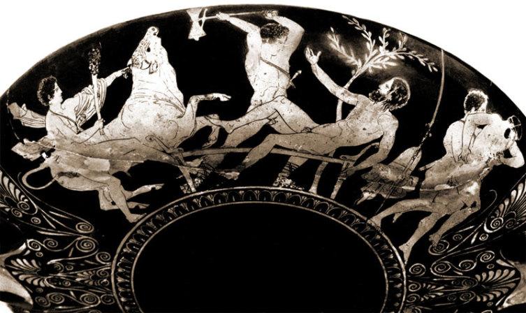 Деяния Тесея, центральный фрагмент — убийство Прокруста, ок. 420—410 годов до н. э.
