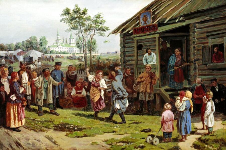 «Сельский праздник» И. Прянишников, 1870 г.