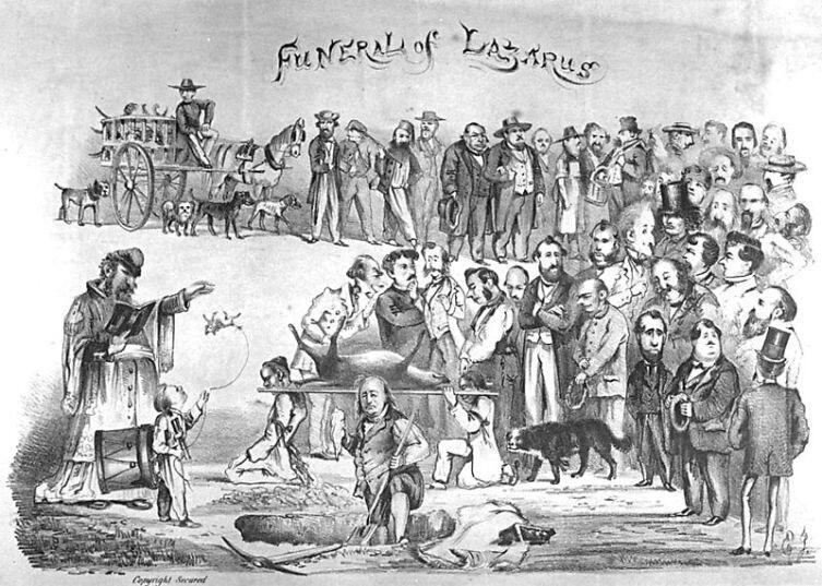 Карикатура в журнале The Wasp. Император изображён в роли Папы Римского на похоронах своей собаки по кличке Лазарь. Среди посетителей похорон изображены известные граждане города