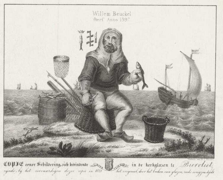 Виллем Бейкельс с орудиями производства. Гравюра из старинной книги