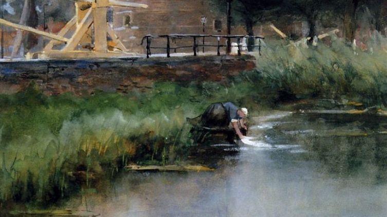 Фрагмент картины Я. Виджсмуллера «Стирка в шлюзе»