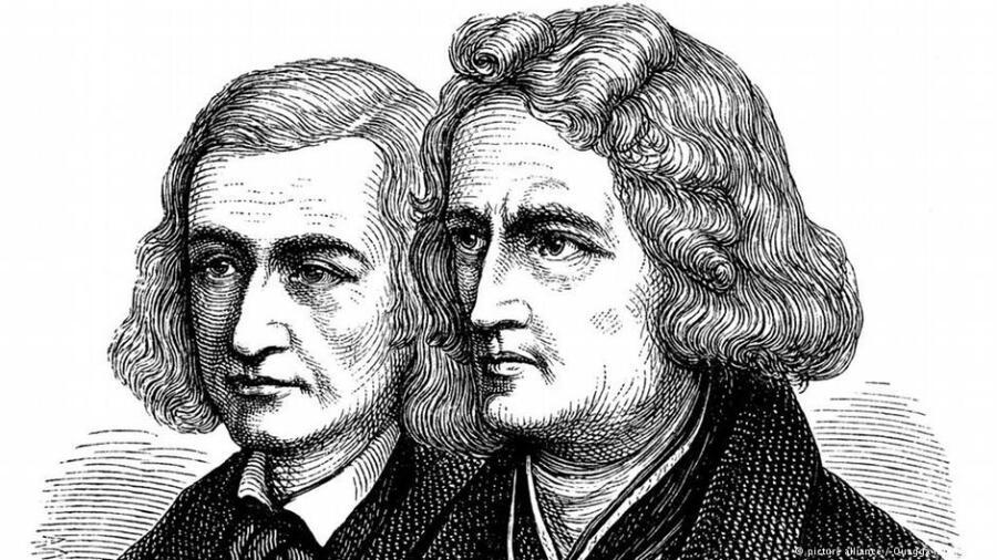 Яков и Вильгельм Гримм, линогравюра XIX в.<br />
