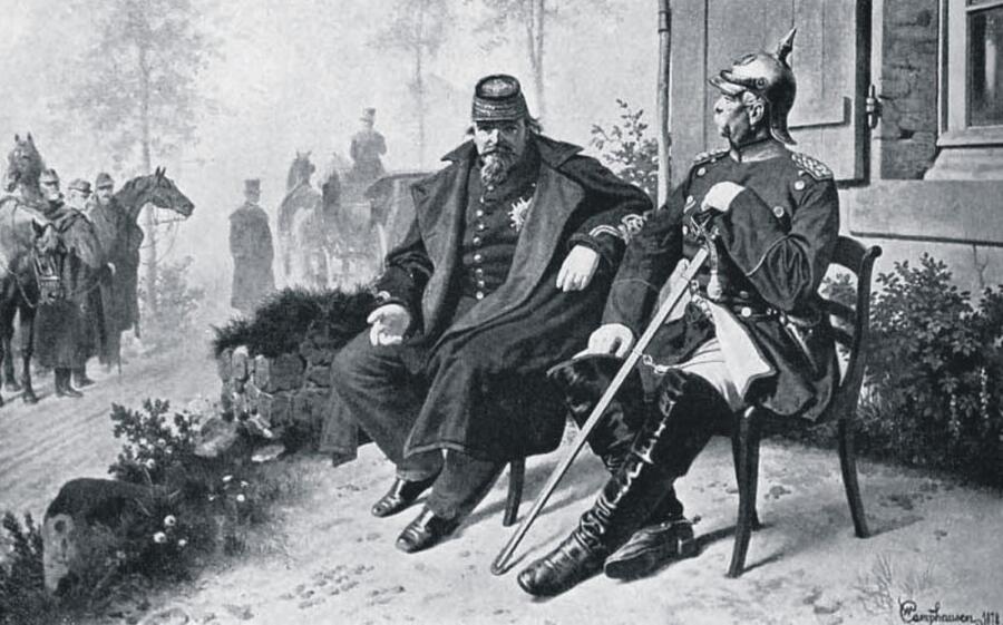 Наполеон III в плену у Бисмарка , 1870 г.