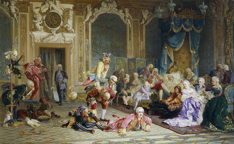 В. Якоби (1834-1902 гг.), «Шуты при дворе императрицы Анны Иоанновны» Композиция включает 26 фигур: д'Акоста (с бичом)