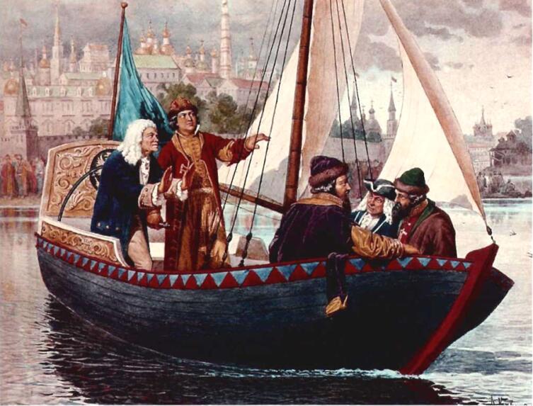 А. Кившенко, «Пётр за рулём парусного ботика на Яузе реке»