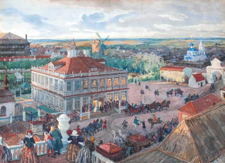 А. Бенуа, «В Немецкой слободе. Отъезд царя Петра I из дома Лефорта», 1909 г.