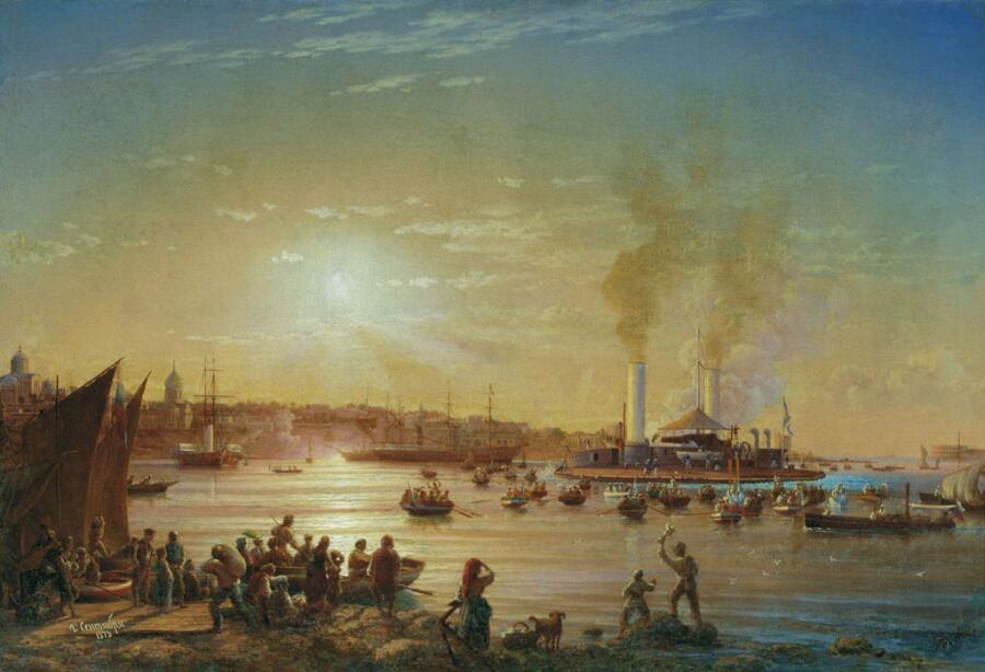 Н.П. Красовский, «Прибытие поповки «Новгород» в Севастополь», 1873 г
