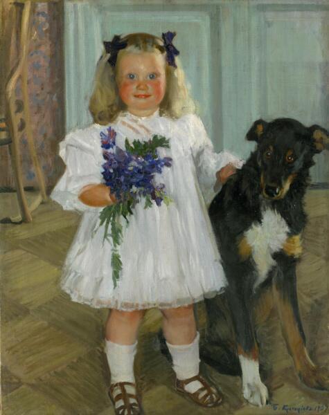 Б. Кустодиев, «Портрет Ирины Кустодиевой с собакой Шумкой», 1907 г.