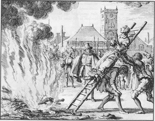 Сожжение еритички на костре. Гравюра