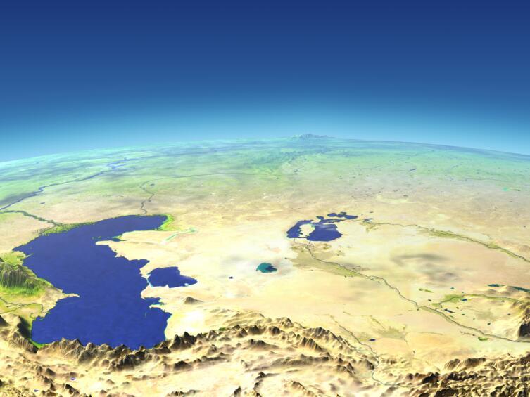 Каспийское и Аральское моря из космоса