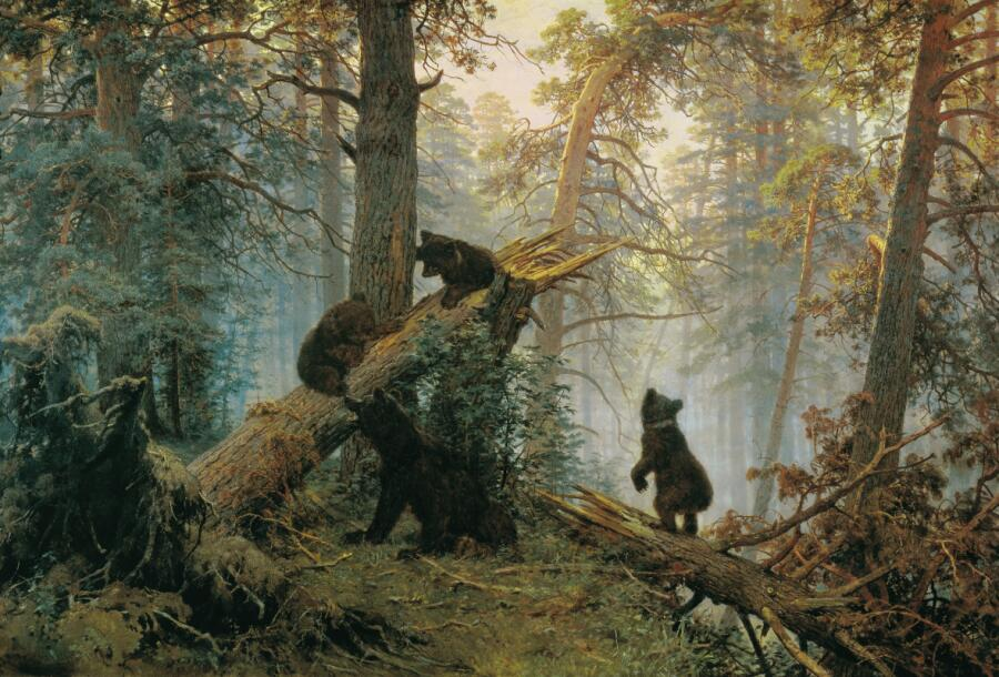 И. И. Шишкин, К. А. Савицкий, «Утро в сосновом лесу», 1889 г.