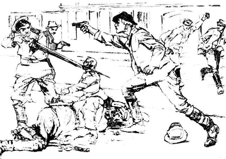 Боевик стреляет в полицейского. Рисунок из польской социалистической газеты Robotnik. 1907 г.