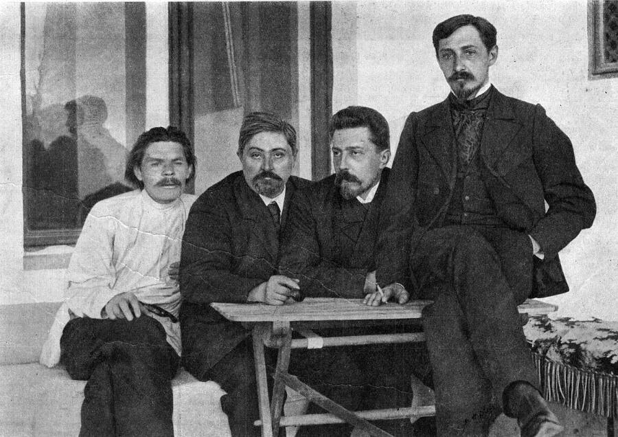 М. Горький, Д. Н. Мамин-Сибиряк, Н. Д. Телешов и И. А. Бунин в Ялте, 1902 г.