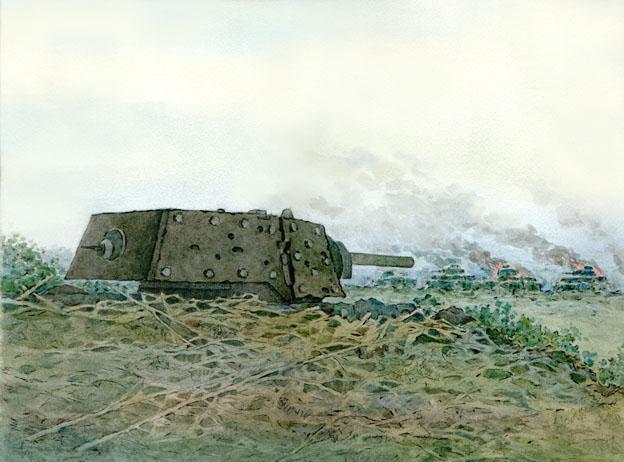 Денис Базуев, «Бой экипажа Колобанова с немецкой танковой колонной. 1941 г.»