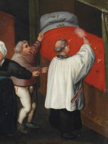 Священник с кропилом, фрагмент картины