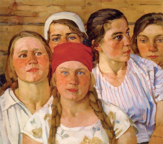 К. Ф. Юон, «Комсомолки. Подмосковный молодняк», 1926 г.