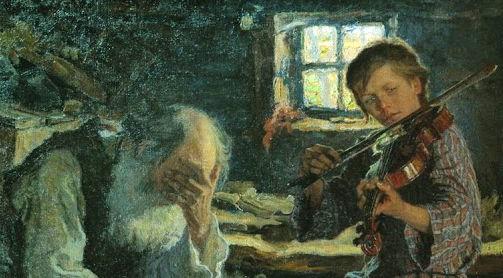 Н. П. Богданов-Бельский, «Талант и поклонник», фрагмент, 1906 г.