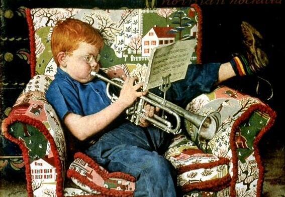 Норман Роквелл, «Игра на трубе» (фрагмент)