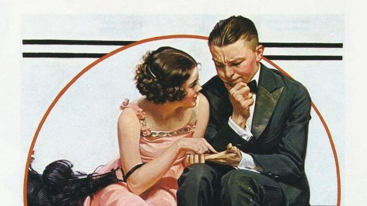 Норман Роквелл, «Девушка, читающая по ладони», фрагмент, 1921 г.