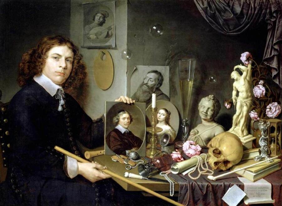 Д. Бейли, «Автопортрет с символами Vanitas», 1651 г.