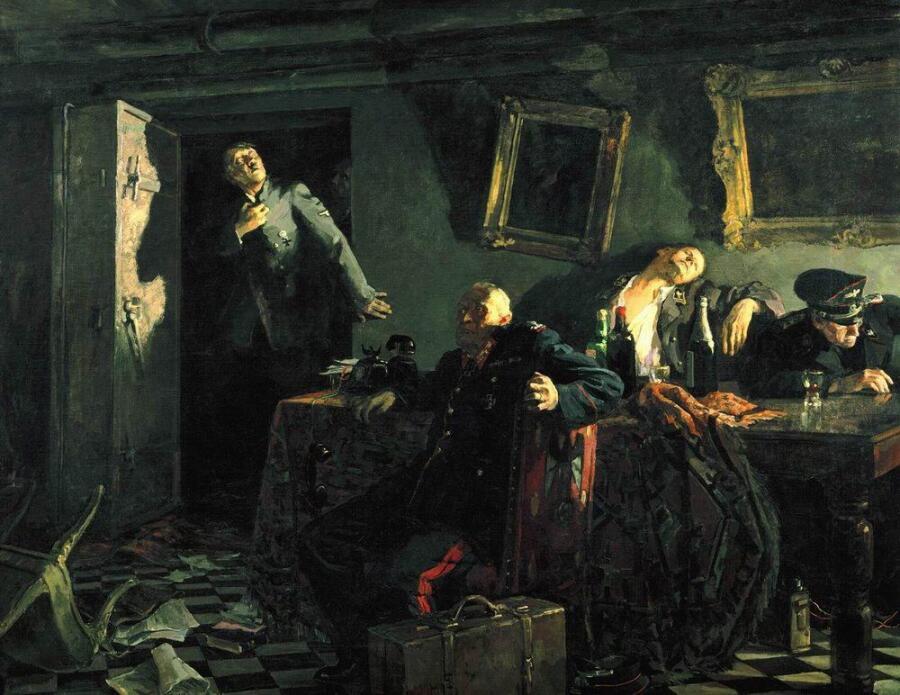 Кукрыниксы, «Конец. Последние часы в ставке Гитлера», 1948 г.
