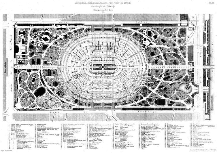 План Всемирной Парижской выставки 1867 года